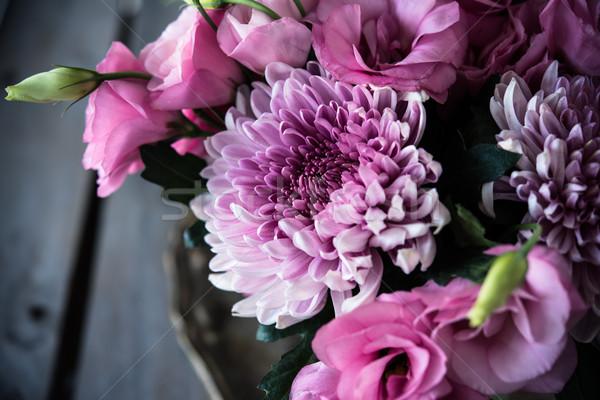 Foto stock: Ramo · rosa · flores · primer · plano · crisantemo · elegante