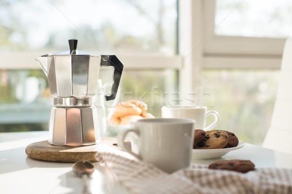 Frans home ontbijt koffie cookies Stockfoto © manera