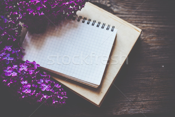 notebooks, and lilac flowers Stock photo © manera