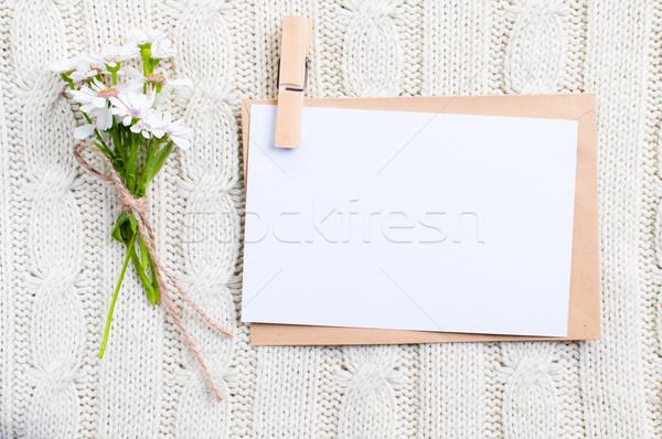Stok fotoğraf: Karton · kart · çiçekler · boş · zarf · kâğıt
