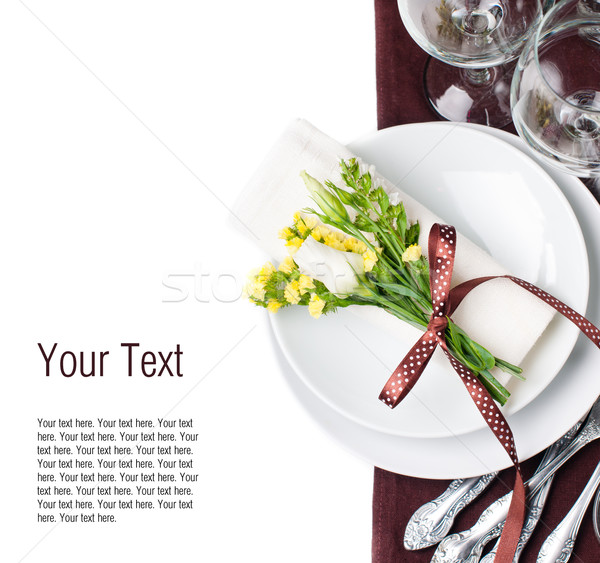 Stock photo: Festive table setting in brown, template