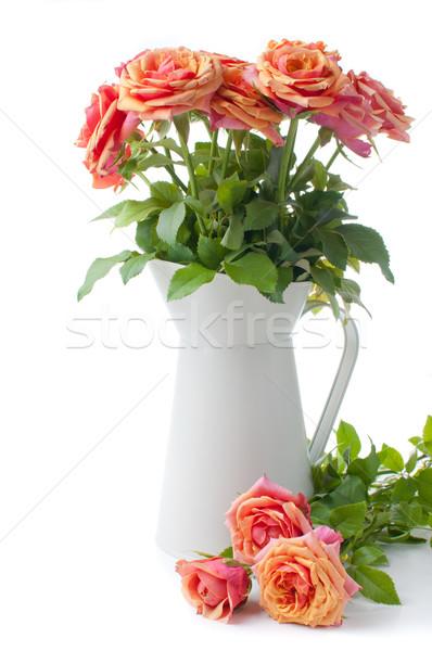アレンジメント バラ オレンジ 白 自然 背景 ストックフォト © manera