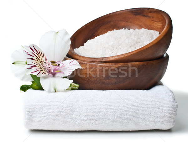 resources for spa, white towel, aromatic salt and Alstroemeria  Stock photo © manera