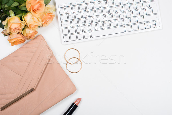 женский workspace цветы сумочка Сток-фото © manera
