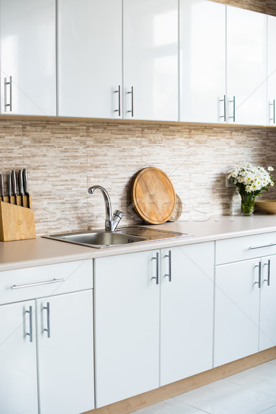 interior of new bright white home kitchen Stock photo © manera