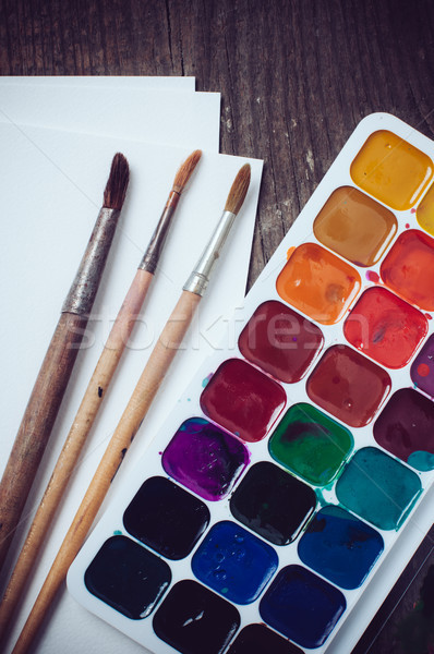Watercolor paints Stock photo © manera