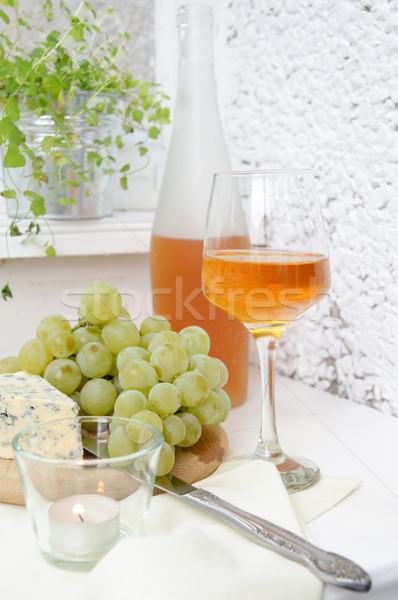 Wijn druiven schimmelkaas licht vruchten achtergrond Stockfoto © manera