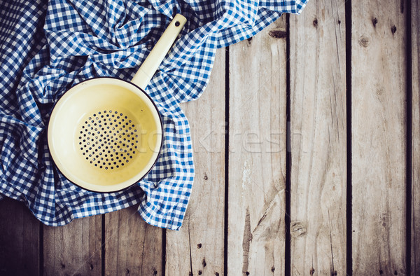 Fogzománc citromsárga kék vászon ruha öreg Stock fotó © manera