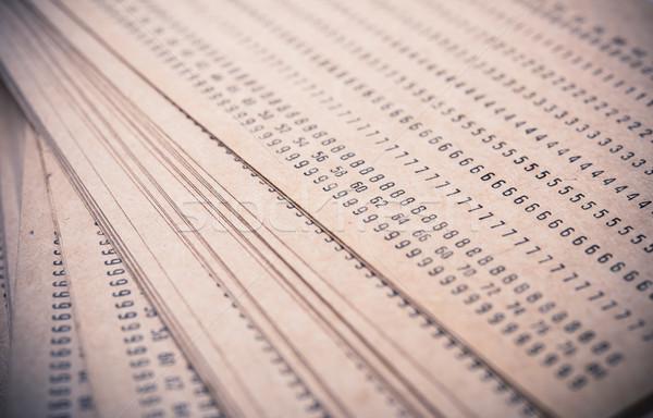 Résumé nombre imprimé vieux papier brun macro Photo stock © manera