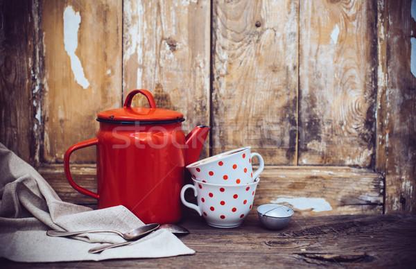 Rusztikus lakberendezés klasszikus konyha dekoráció piros Stock fotó © manera