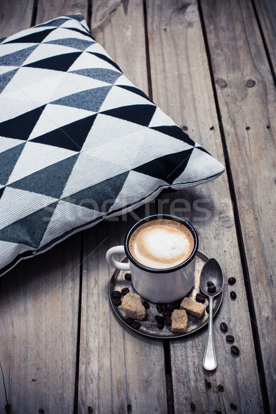 Tasse café oreiller confortable rustique Photo stock © manera