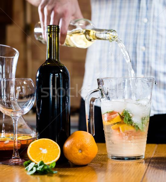 человека белое вино банку домой Сток-фото © manera