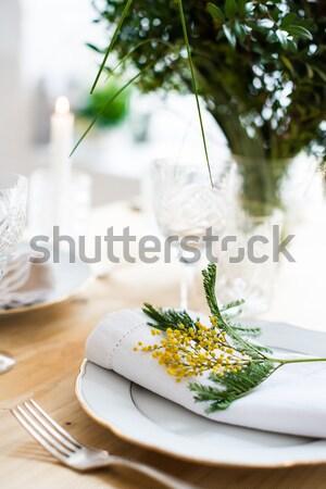 Closeup of holiday table setting Stock photo © manera