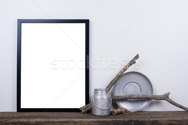 Scandinavian style empty photo frame mock up. Minimal home decor Stock photo © manera