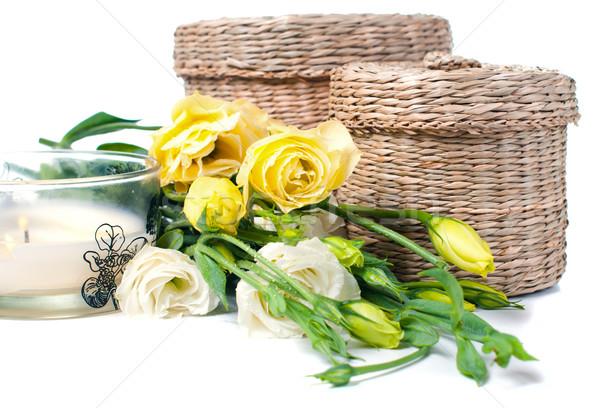 Wiklina pola świece kwiaty dwa bukiet Zdjęcia stock © manera