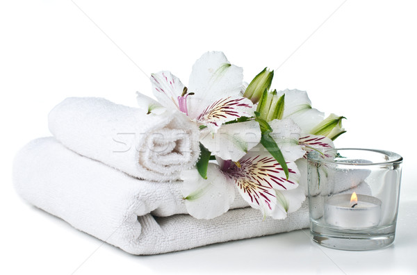 ресурсы Spa белый полотенце свечу цветок Сток-фото © manera