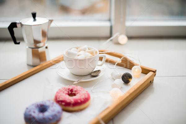 Kényelmes otthon hétvége kávé édesség tálca Stock fotó © manera
