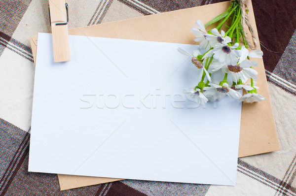 empty cardboard card with flowers Stock photo © manera