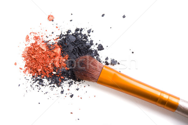 Professional makeup brush and loose powder eyeshadows isolated Stock photo © manera