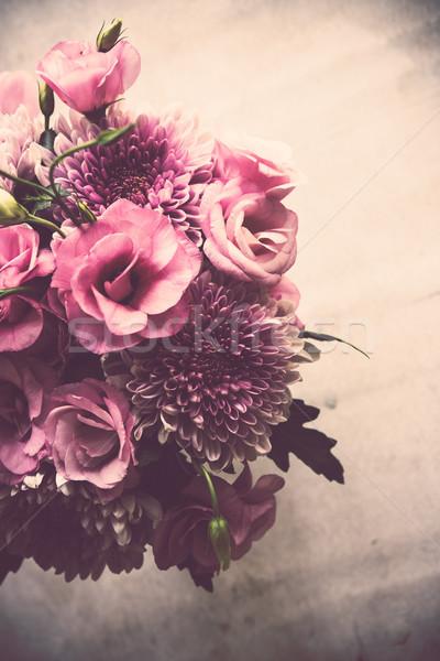 Buket pembe çiçekler krizantem zarif Stok fotoğraf © manera