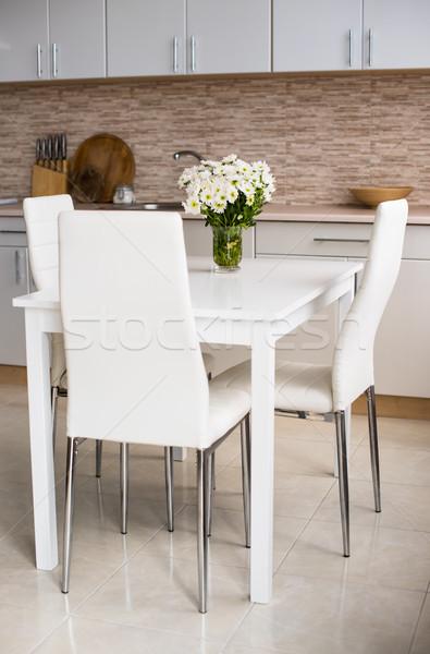 Interieur nieuwe heldere witte home keuken interieur Stockfoto © manera