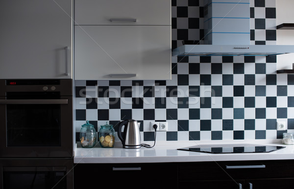 Stok fotoğraf: Iç · modern · mutfak · siyah · beyaz · ev
