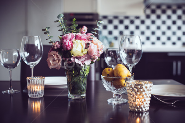 обеденный стол набор цветы свечей очки интерьер Сток-фото © manera