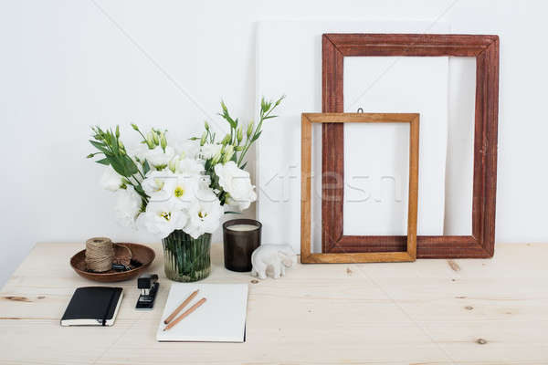 White contemporary feminine work desk with flowers Stock photo © manera