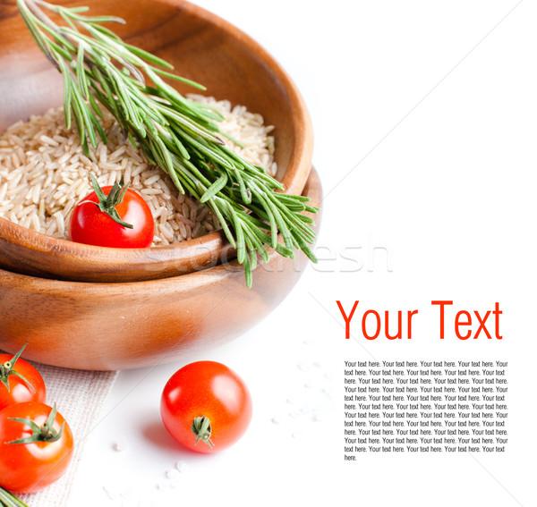 şablon vejetaryen yemek taze domates pirinç biberiye Stok fotoğraf © manera