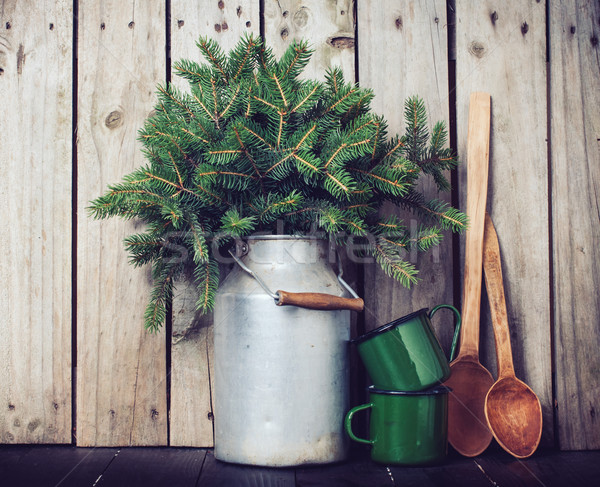 Rusztikus tél dekoráció díszítések lucfenyő ágak Stock fotó © manera