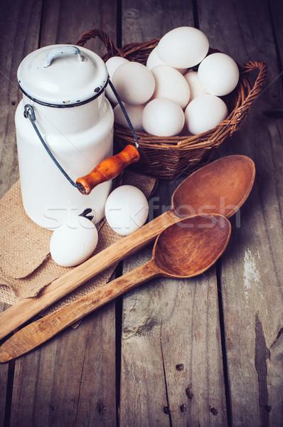 Vidék konyha csendélet fogzománc tej konzerv Stock fotó © manera