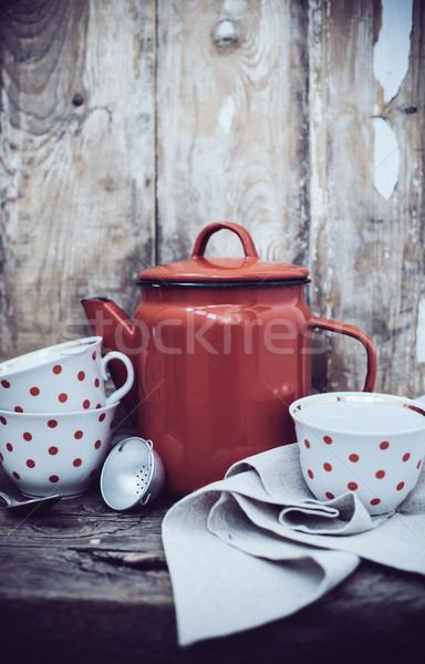 деревенский Vintage кухне красный Сток-фото © manera