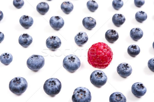 Fruto diferença framboesa mirtilos isolado macro Foto stock © manera