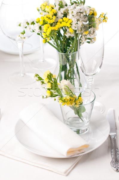 Festive table setting in yellow Stock photo © manera