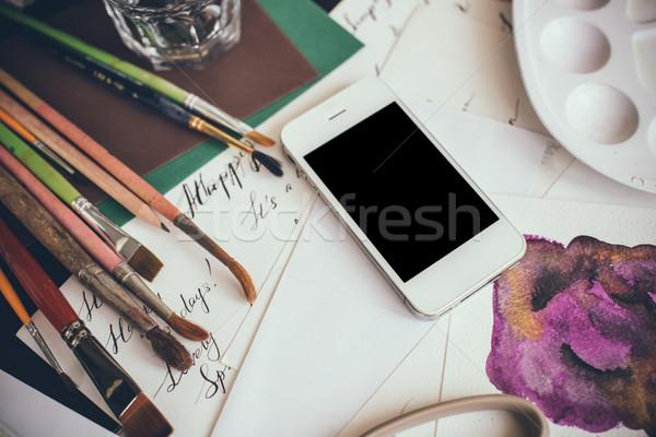 смартфон таблице художник студию акварель палитра Сток-фото © manera