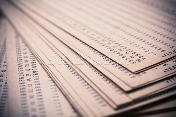 Streszczenie numery wydrukowane starych brązowy papier makro Zdjęcia stock © manera