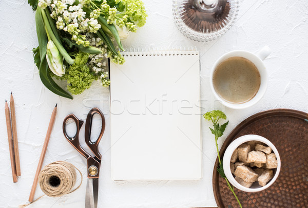 Feminine flatlay with flowers and ccoffee Stock photo © manera