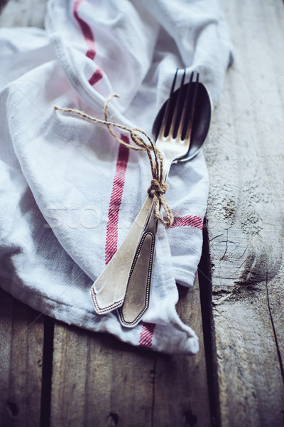Bestek servet vintage oude Stockfoto © manera