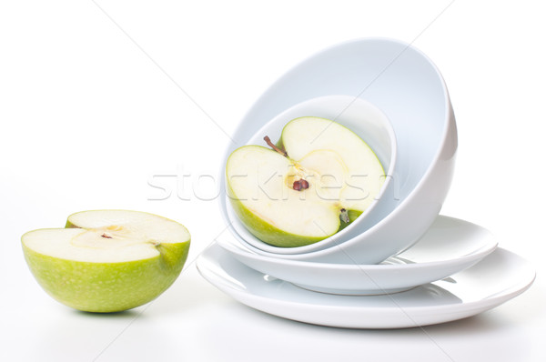 Two halves of a large green apple Stock photo © manera