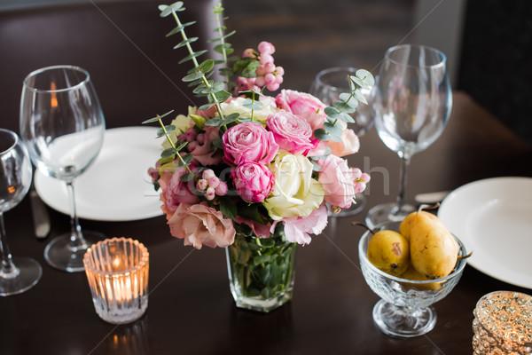 Stockfoto: Bloemen · tabel · boeket · roze · ingesteld · diner