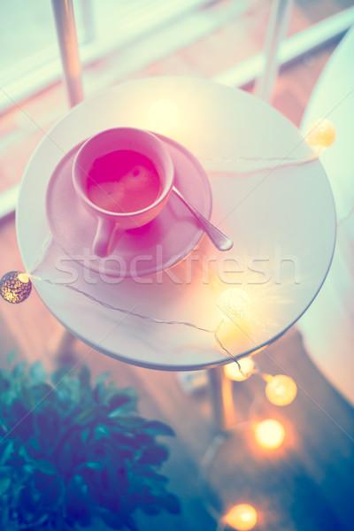 Csésze kávé meleg karácsony fények asztal Stock fotó © manera