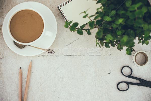 стиль рабочих таблице кофе служба Сток-фото © manera
