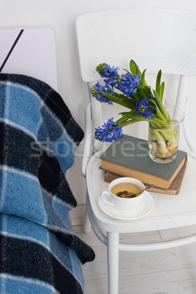 Quarto interior limpar branco azul Foto stock © manera