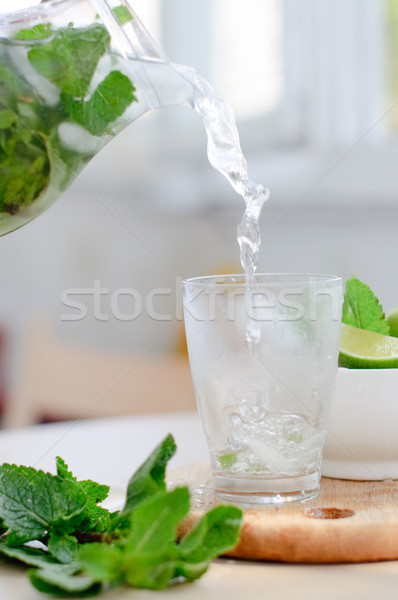 drink with lime and mint Stock photo © manera