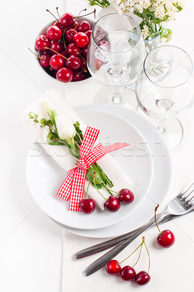 decoration with fresh flowers and sweet cherry Stock photo © manera