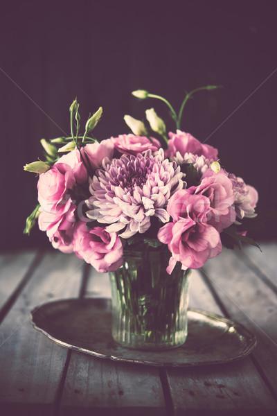 Foto stock: Ramo · rosa · flores · jarrón · vintage · decoración