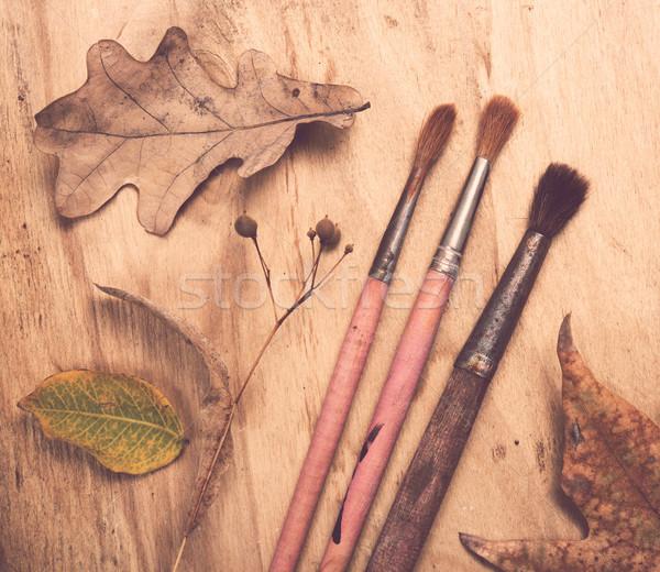Stockfoto: Vier · oude · gebruikt · penselen