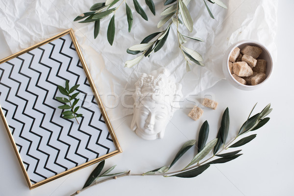 Olive branches and ceramic decor Stock photo © manera