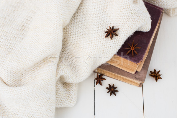 vintage books and knitted sweater Stock photo © manera