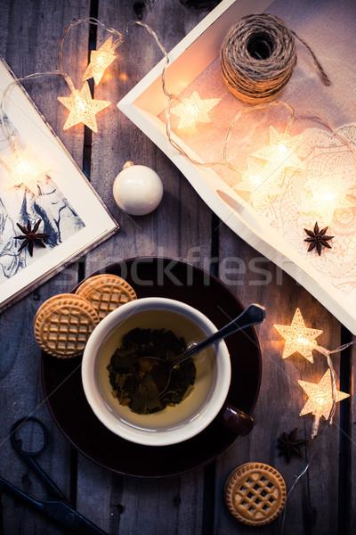 Confortable vacances maison hiver vacances tasse Photo stock © manera